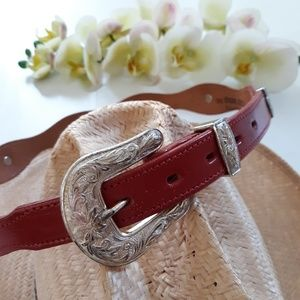 vtg Dun Dee |  Red Leather concho belt